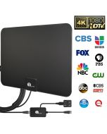 1byone Digital Amplified Indoor HD TV Antenna Up to 80 Miles Range, Amplifier Signal Booster Support 4K 1080P UHF VHF Freeview HDTV Channels, 10ft Coax Cable