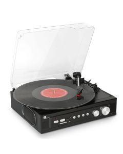 1byone Belt-Drive 3-Speed Mini Stereo Turntable