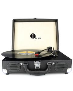 Belt-Drive 3-Speed Portable Stereo Turntable with Built in Speakers-Black