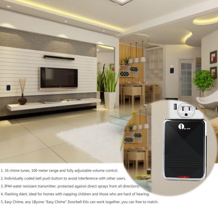 1 Plug-in Receiver /& 1 /& 1 1byone Easy Chime Wireless Doorbell Door Chime Kit