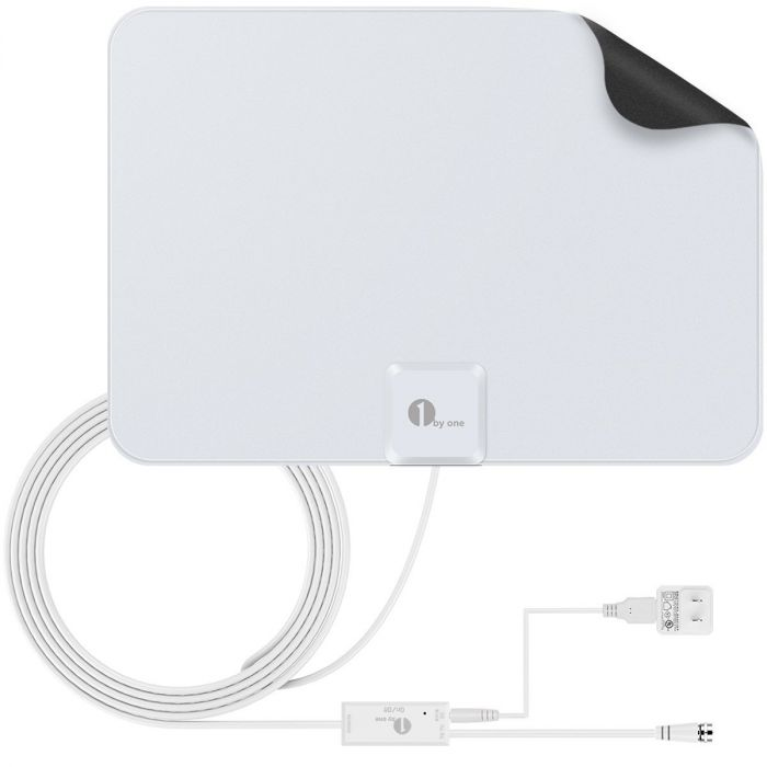 50 Mile Range Amplified HDTV Antenna with Detachable Amplifier Signal Booster USB Power Supply and 10 Feet Highest Performance Coaxial Cable-Black 1byone TV Antenna