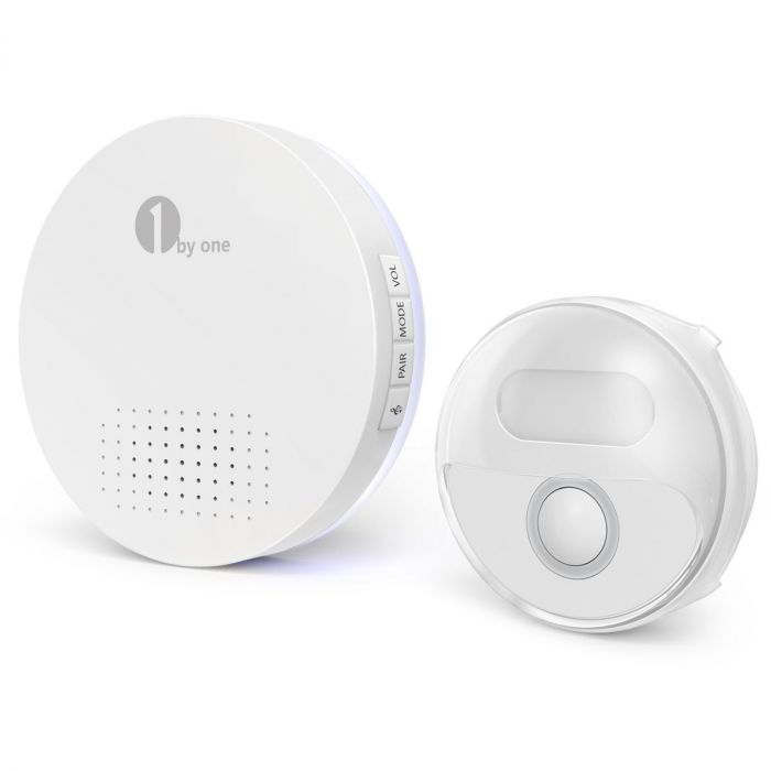 White 36 Melodies to Choose CD Quality Sound and LED Flash 1byone Easy Chime Wireless Doorbell Operating at 500 feet with 2 Plug-in Receivers