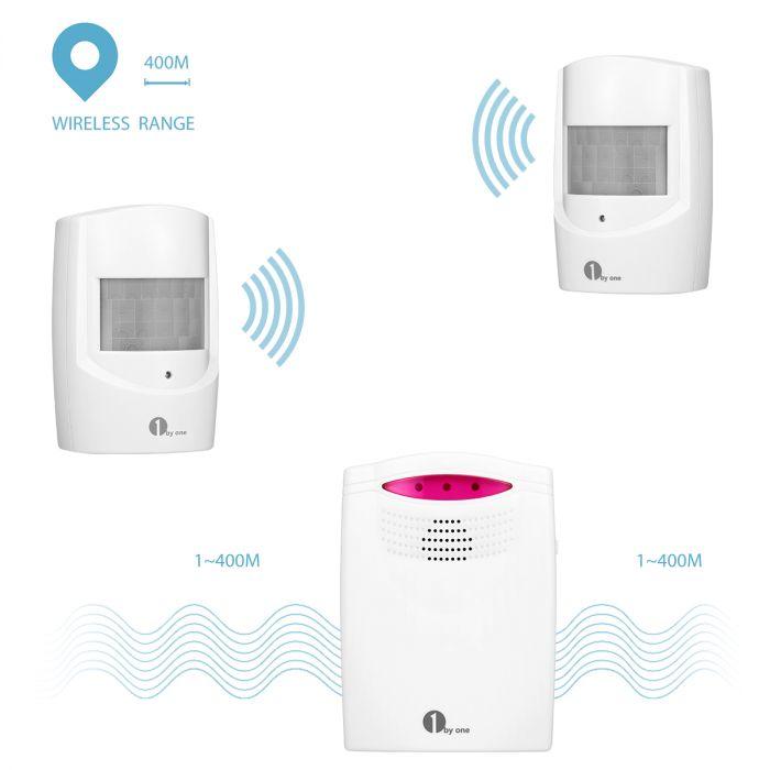 1byone Wireless Shed Driveway Alarm Alert System PIR Motion Sensor /& 2 Receivers