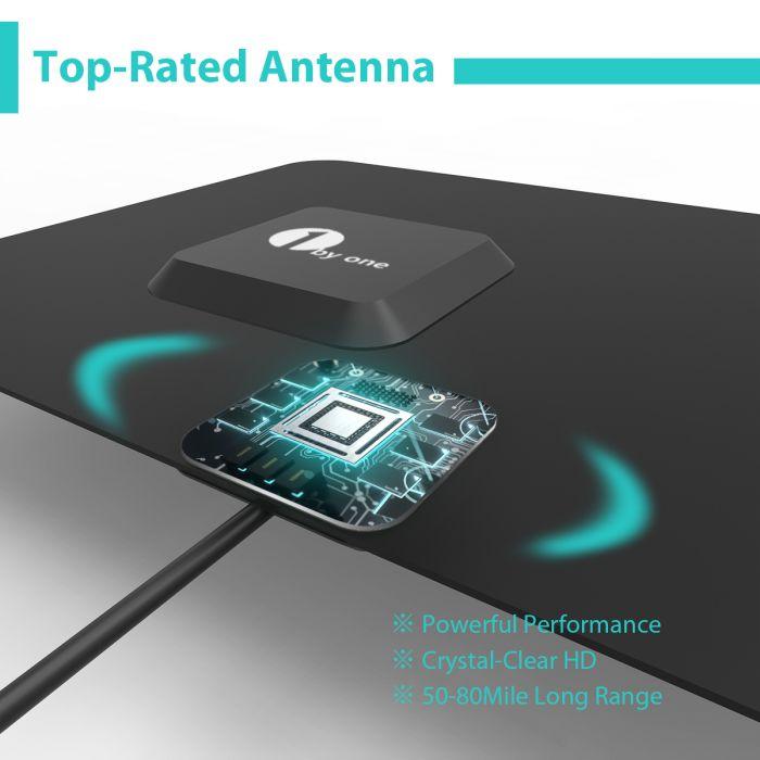 1byone Digital TV Antenna 50 Miles Range Signal Booster Amplifier VHF UHF
