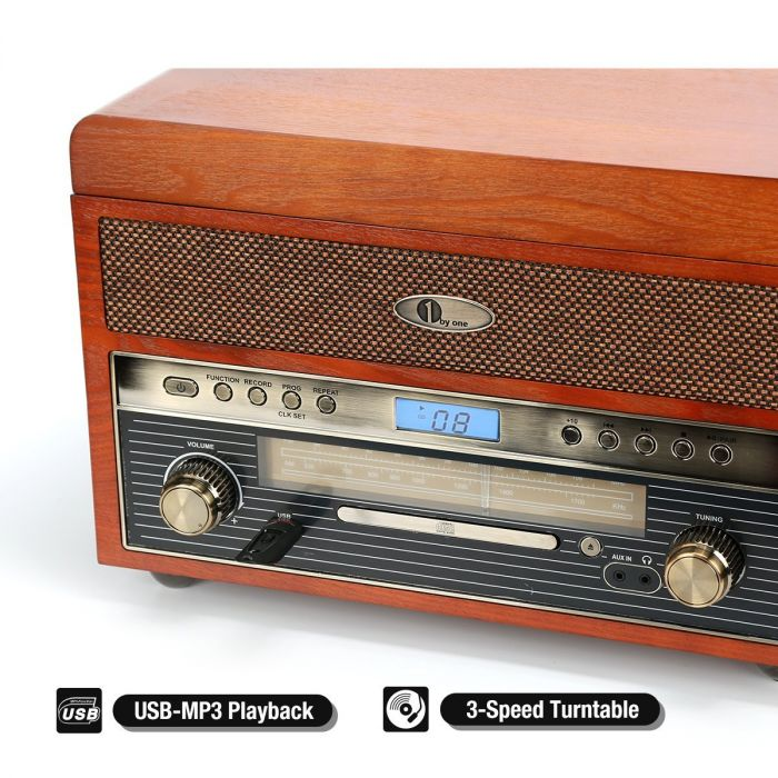 Nostalgic Wooden Turntable Bluetooth Vinyl Record Player