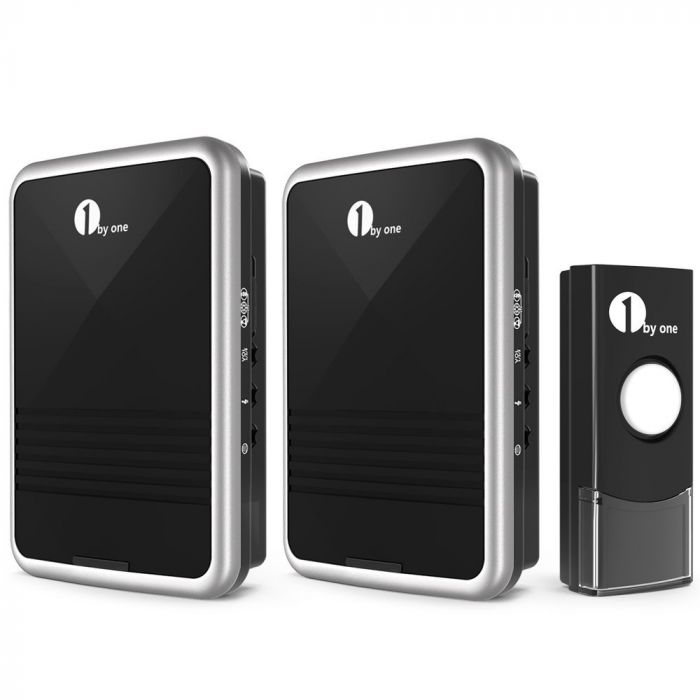 1byone Easy Chime Wireless Doorbell Kit 1 Receiver 1 Push Button Sound LED Flash