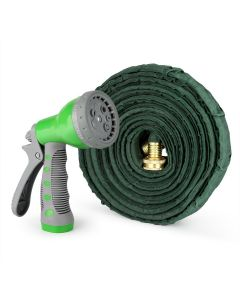 Flat Garden Hose with 7 Function Spray Nozzle