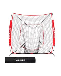 Naturalife 7x7ft Baseball and Softball Practice Net with Strike Zone Target-Red