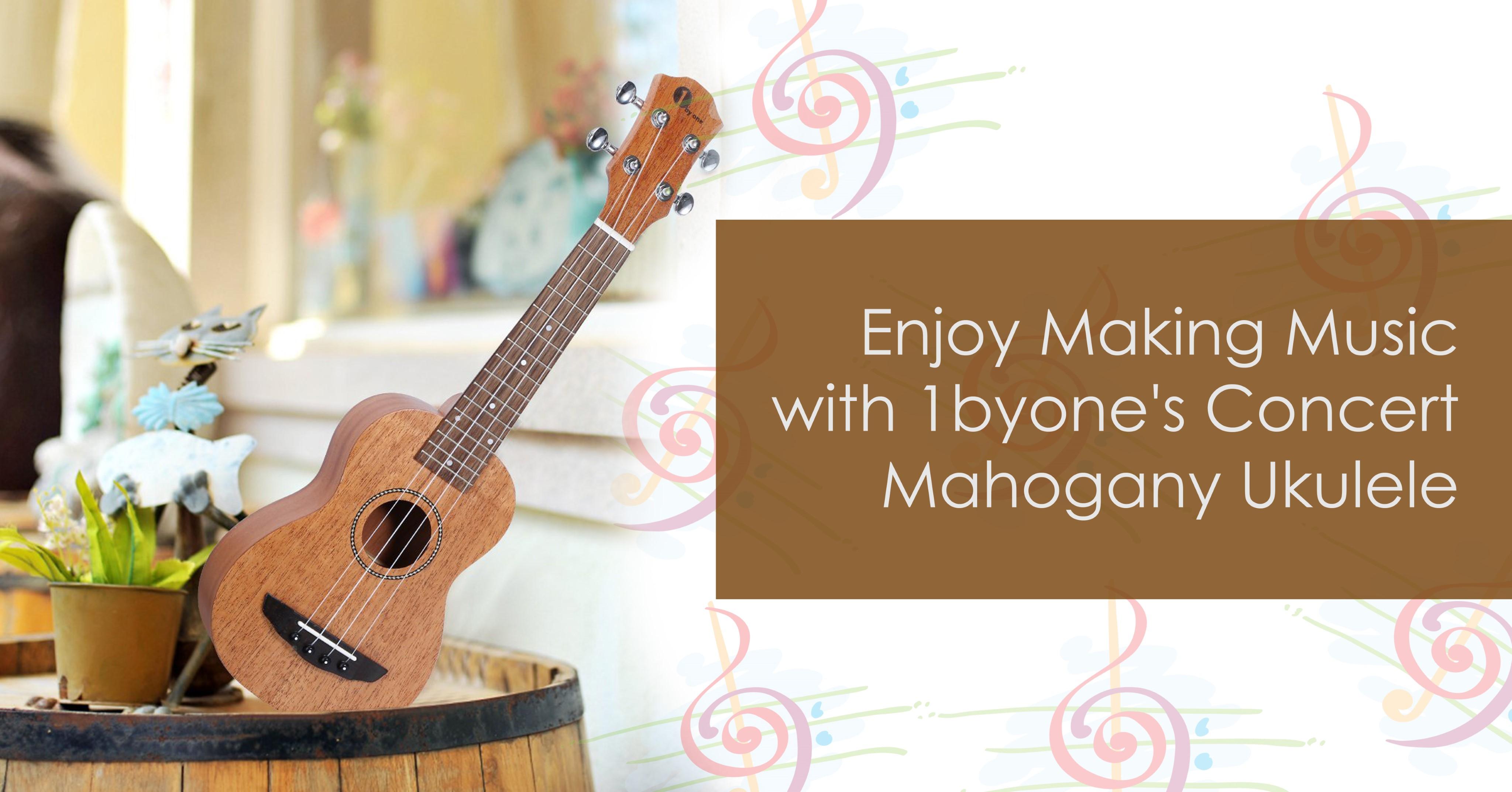 Enjoy Making Music with 1byone's  Concert Mahogony Ukulele